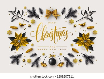 Chic Christmas postcard with Calligraphic Season Wishes and Composition of Festive Elements, Berries, Christmas Tree Decorations, Flowers.