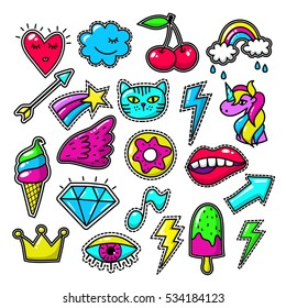 Chic fashion badges. Girl doodle applique patches and embroidered textile stickers. Embroidered label vintage, textile , unicorn and arrow embroidered illustration