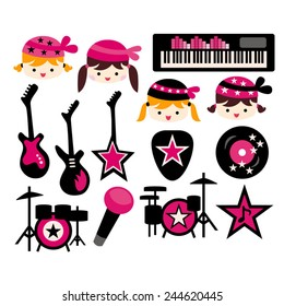 Chic girl rock star in pink and black.