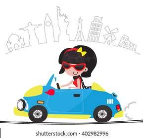 Chic girl traveling around the world by car on white background vector.