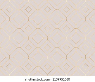 Chic gold geometric seamless pattern with hexagons and rhombuses tiles.