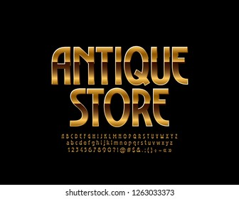 Chic Logo for Antique Store. Vector set of Alphabet Letters, Numbers and Symbols. Golden elegant Font.