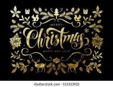 """Chic and Luxury Christmas Postcard with Gold Foil Christmas Elements and Handwritten Calligraphic """"Christmas"""" Inscription on Black Background."""