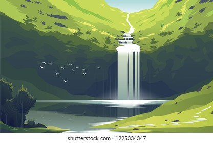 A chic mountain waterfall near a lake with parables in the wild during the summer. Picture in geometric style. Vector illustration