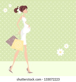 Chic Pregnant Woman Pretty Mom /Mum to be with shopping bags, perhaps doing baby shopping.