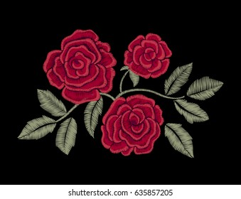 Chic red roses. Embroidery.