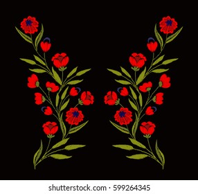 Chic, trendy, fashionable, bright floral composition of fashionable embroidered stylized flowers in bright red.Summer mood. Ideal for embroidery on textile products.Embroidered chamomile, strawberries