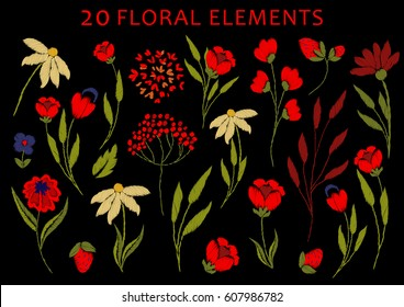 Chic, trendy, fashionable, bright floral composition of embroidered stylized flowers in bright red. Embroidered chamomile, strawberries