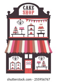 A chic vector illustration of a vintage victorian double level cake shopfront with large window display. On the window display, there are cakes, cupcakes, desserts and pies.