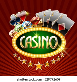 Chic vector logotype for casino with cards colors and chips