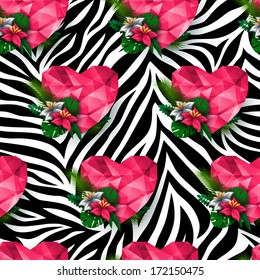 Chic vector seamless pattern (tiling). Animal print, zebra texture with polygonal hearts and flowers.