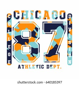 Chicago, athletic department. Camouflage typography for clothes. T-shirt graphics. Vector