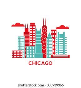 Chicago city architecture retro vector illustration, skyline city silhouette, skyscraper, flat design
