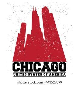 Chicago City concept. Logo. Label. T-shirt design. CH. Creative poster design.