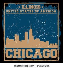 Chicago City concept. Logo. Label. T-shirt design or Creative poster design.