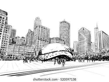 Chicago city hand drawn.USA. Street sketch, vector illustration