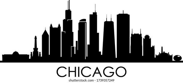 CHICAGO City Illinois Skyline Silhouette Cityscape Vector