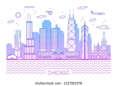 Chicago city line art Vector illustration with all famous building. Cityscape banner in a trendy modern style, typographic composition of gradient lines and background