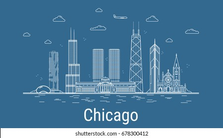 Chicago city, Line Art Vector illustration with all famous towers. Linear Banner with Showplace. Composition of Modern buildings, Cityscape. Chicago buildings set