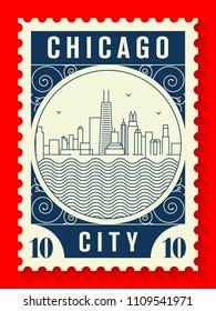 Chicago City Line Style Postage Stamp Design