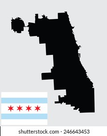 Chicago City map silhouette, vector map, isolated on white background. High detailed illustration. Illinois state city Chicago flag vector.. United states of America town. Flag of Chicago town.