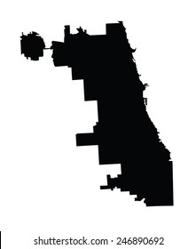 Chicago City map silhouette, vector map, isolated on white background. High detailed illustration. Illinois state city Chicago. United states of America town.
