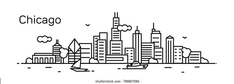 Chicago city. Modern flat line style. Vector illustration