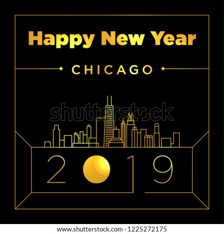chicago city new year card design template