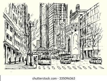 Chicago city scene hand drawn isolated illustration