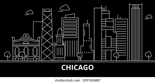 Chicago city silhouette skyline. USA - Chicago city vector city, american linear architecture, buildings. Chicago city travel illustration, outline landmarks. USA flat icon, american line banner