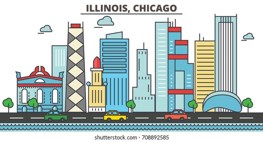 Chicago city skyline: architecture, buildings, streets, silhouette, landscape, panorama, landmarks. Editable strokes. Flat design line vector illustration. Isolated icons on white background