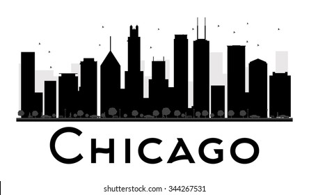 Chicago City skyline black and white silhouette. Vector illustration. Simple flat concept for tourism presentation, banner, placard or web site. Business travel concept. Cityscape with landmarks