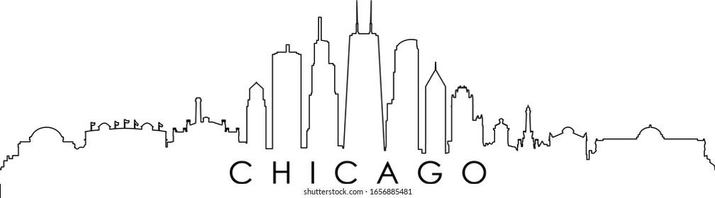 Chicago City Skyline Cityscape Outline Silhouette Vector