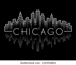 Chicago city skyline concept buildings line  style set white on black background