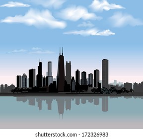 Chicago City Skyline Detailed Silhouette With Reflection In Water And Blue Sky Illinois Cityscape Illustration