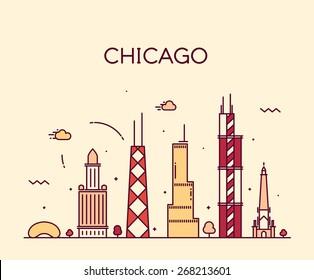 Chicago City skyline detailed silhouette. Trendy vector illustration, line art style.
