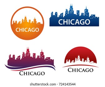 Chicago City Skyline Landscape Logo Template