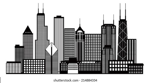 Chicago City Skyline Panorama Black Outline Silhouette Isolated on White Background Vector Illustration
