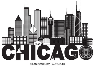 Chicago City Skyline Panorama Black Outline Silhouette with Text Isolated on White Background vector Illustration