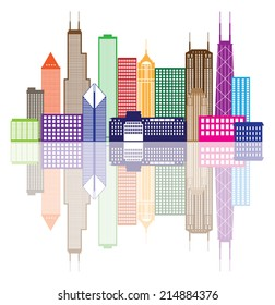 Chicago City Skyline Panorama Color Outline Silhouette with Reflection Isolated on White Background Vector Illustration