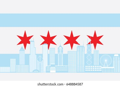 Chicago City Skyline Panorama Color Outline Silhouette with City Flag Isolated on White Background vector Illustration