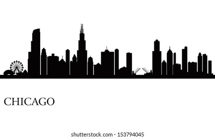 Chicago City Skyline Silhouette Background Vector Illustration