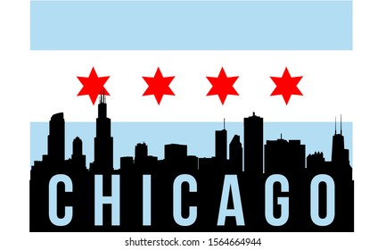 Chicago city skyline silhouette background, vector illustration and flag in background