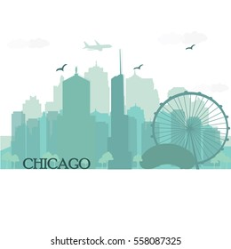 Chicago city skyline silhouette with famous city landmarks. Flat style vector illustration.
