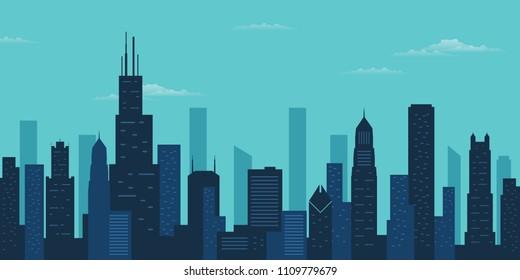 Chicago city skyline. Chicago skyscraper building silhouette