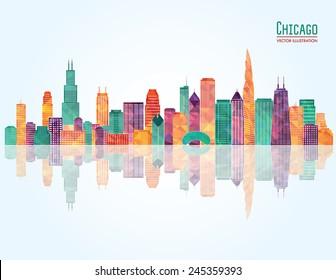 Chicago city skyline. Vector illustration