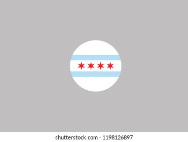 Chicago city symbol Illinois red star and blue stripes United States