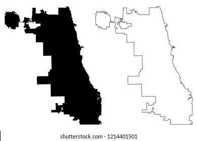 Chicago City Map Silhouette Vector Map Stock Vector (Royalty Free ...
