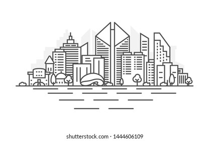 Chicago city, USA architecture line skyline illustration. Linear vector cityscape with famous landmarks, city sights, design icons. Landscape with editable strokes.