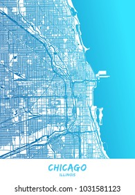 Chicago downtown and surroundings Map in blue shaded version with many details. This map of Chicago contains typical landmarks with room for additional information and easy access to color changes.